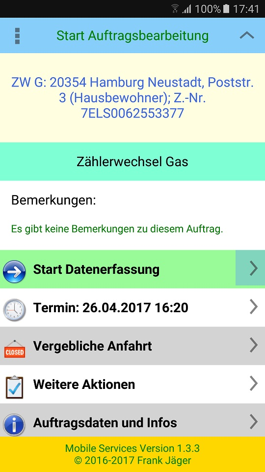Start Datenerfassung